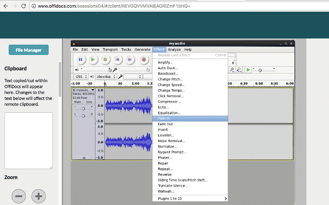 Audio editor online Audacity with Telegram :: My Extensions