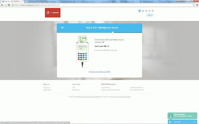 mydigipass eid card reader extension  my extensions